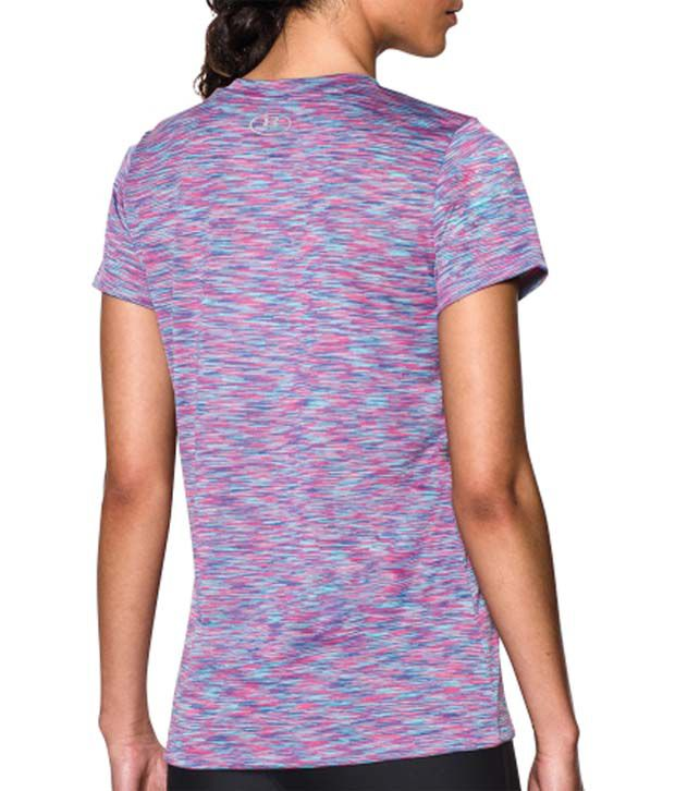 Under Armour Under Armour Women's Tech Disruptive Space Dye V-neck T-shirt, Jazz Blue/rebel Pink