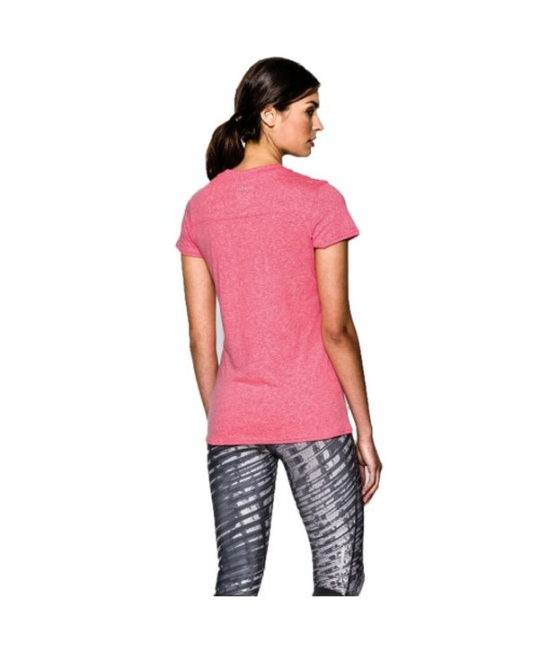Under Armour Under Armour Women's Charged Cotton Tri-blend Graphic T-shirt, Carbon Heather/pink Shock