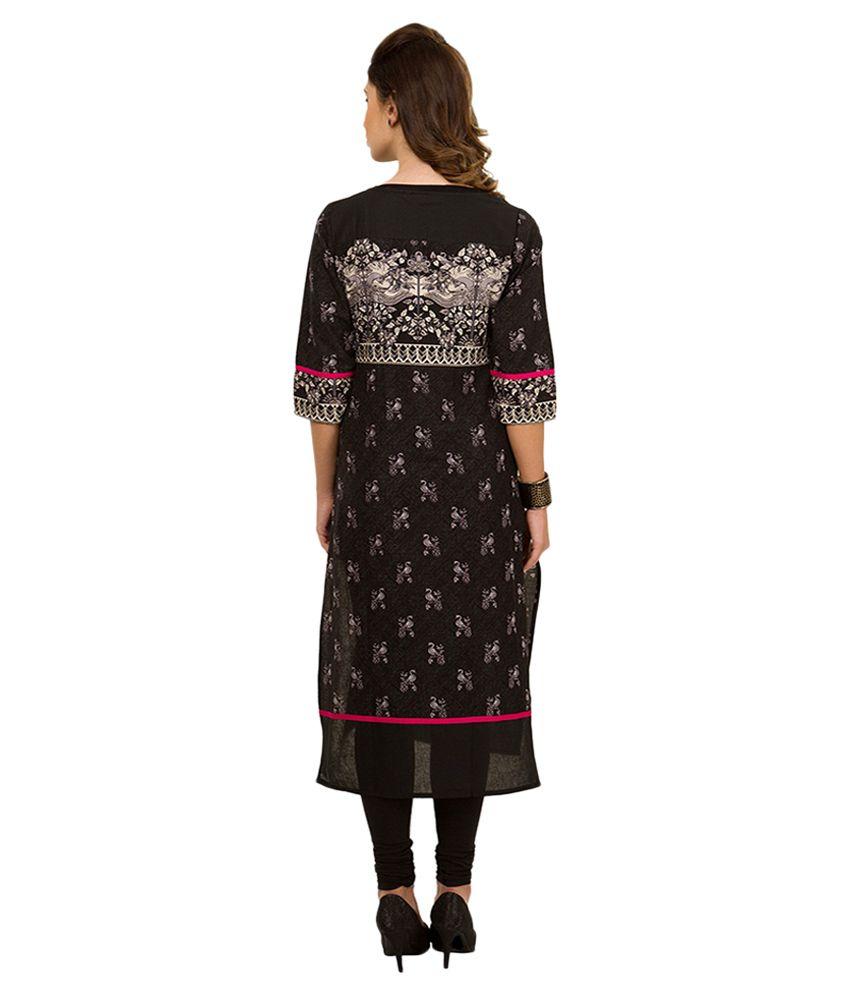 40c1b19f05a Vishudh Black Printed Kurta - Buy Vishudh Black Printed Kurta Online ...
