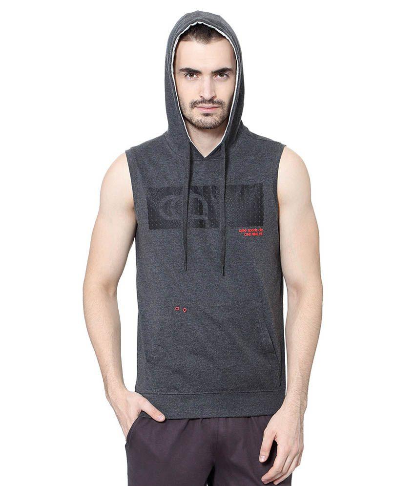 Ajile by Pantaloons Grey Hooded Neck T Shirt