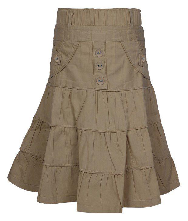 Jazzup Beige Cotton Solids Skirt