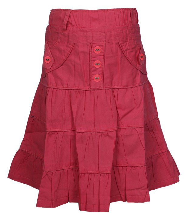 Jazzup Red Cotton Solids Skirt