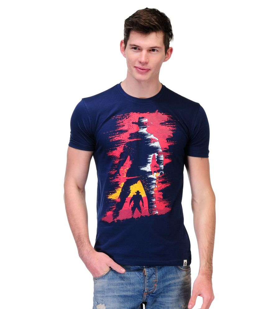 Slingshot Navy And Pink Cotton Round Neck T-shirt With A Trendy Graphic