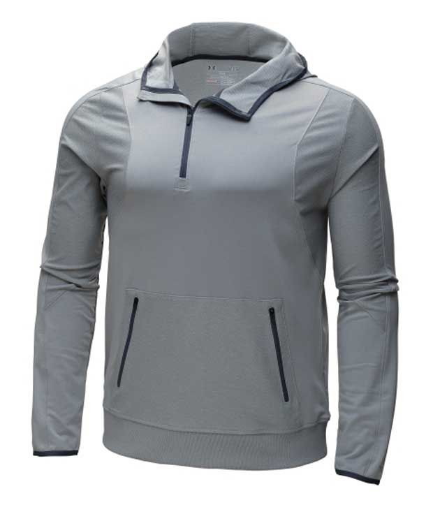 Under Armour Men's Forum Quarter Zip Hoodie Silver Heather