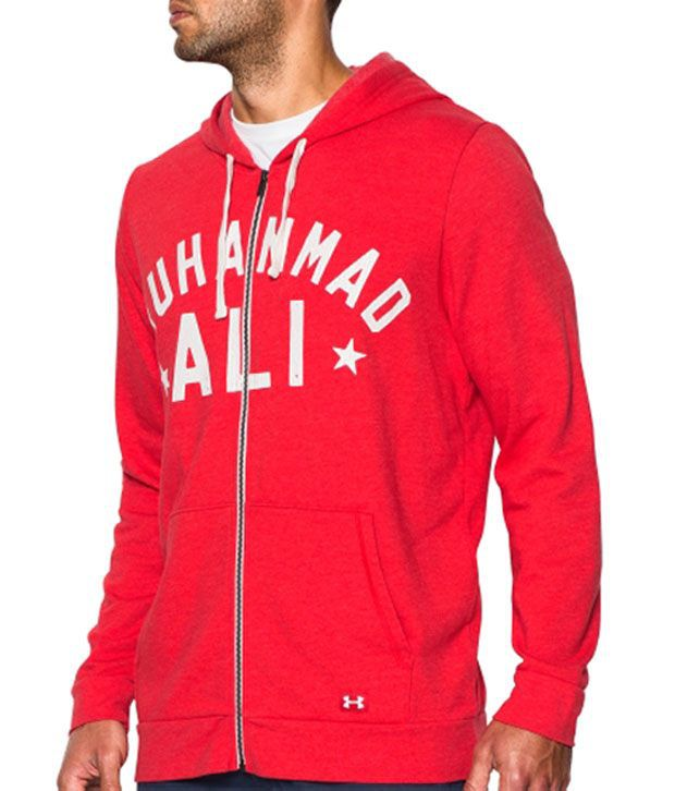 Under Armour Men's Roots Of Fight Muhammad Ali 3x Champ Full Zip Hoodie Red