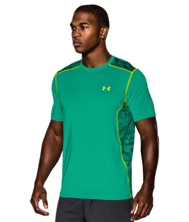 Under Armour Under Armour Men's Raid Camo Print Short Sleeve Shirt, Emerald Lake