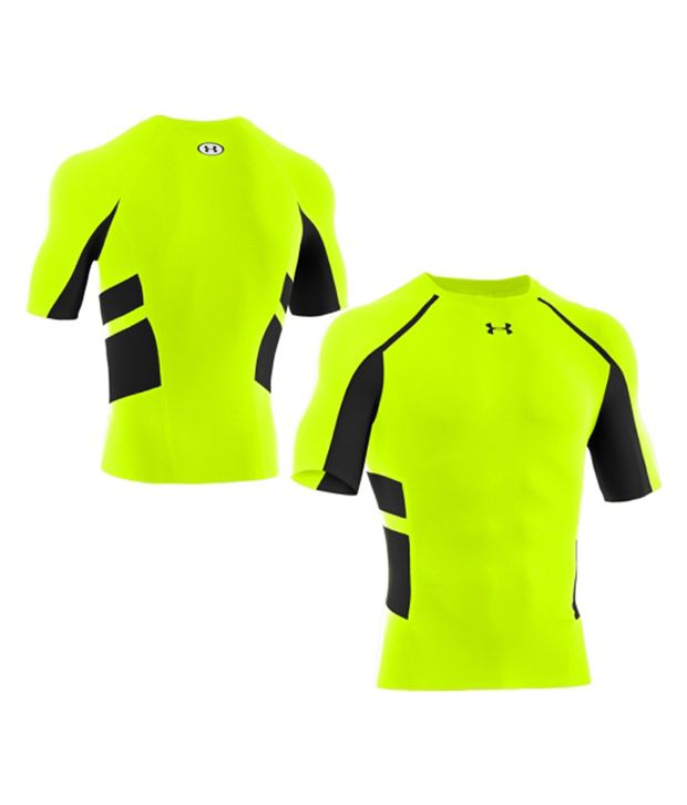 Under Armour Under Armour Men's Heatgear Armour Stretch Compression Shirt, Blaze Orange/bolt Grey