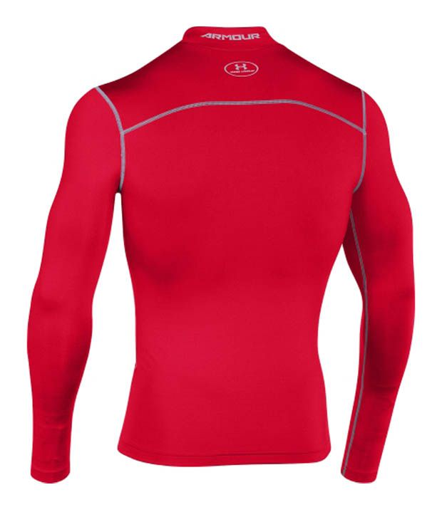 Under Armour Under Armour Men's Coldgear Armour Compression Mock Neck Long Sleeve Shirt, Red/steel