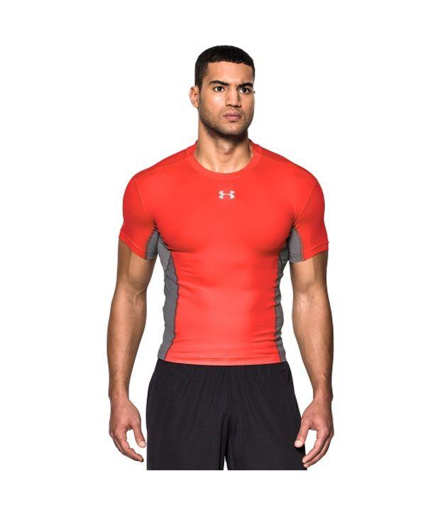 Under Armour Under Armour Men's Heatgear Armour Stretch Short Sleeve Compression Shirt, Bolt Orange/graphite