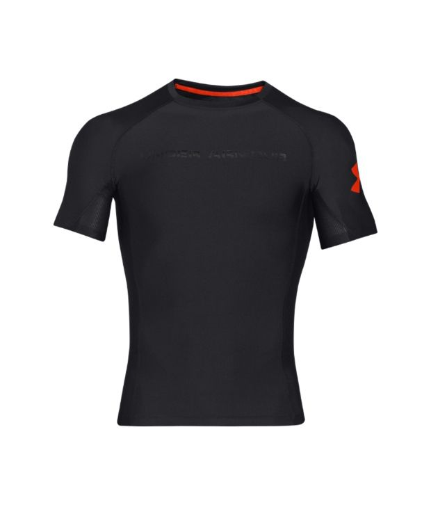 Under Armour Under Armour Men's Combine Training Compression Short Sleeve Shirt, Black/black/volcano