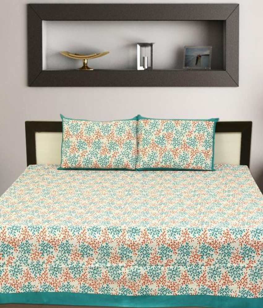 Aangan Blue And Brown Traditional Cotton Double Bedsheet With Two Pillow Covers