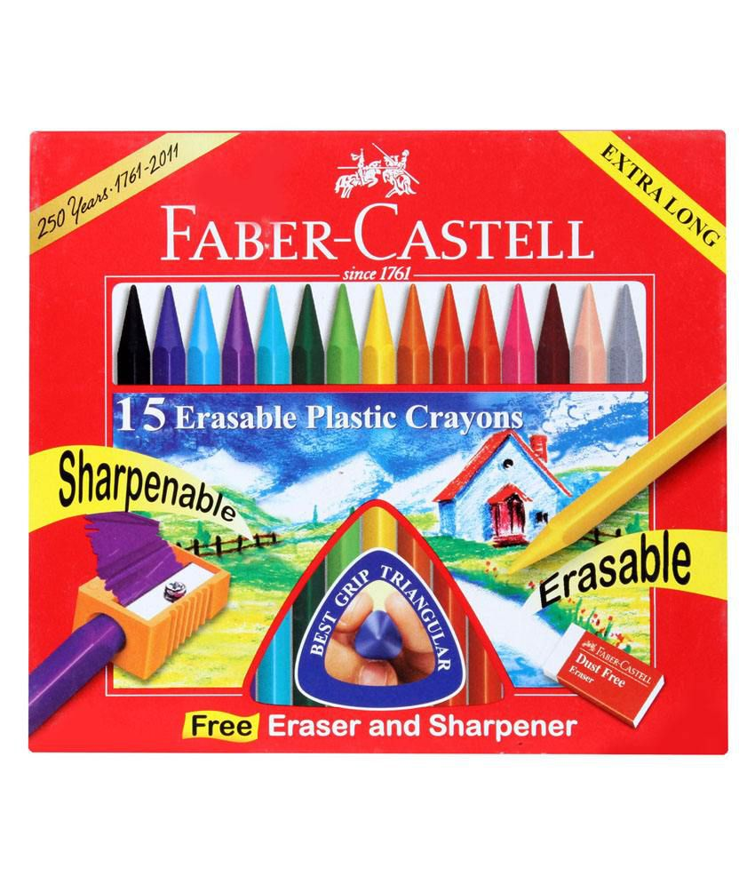 faber castell 15 shades erasable crayons: buy online at