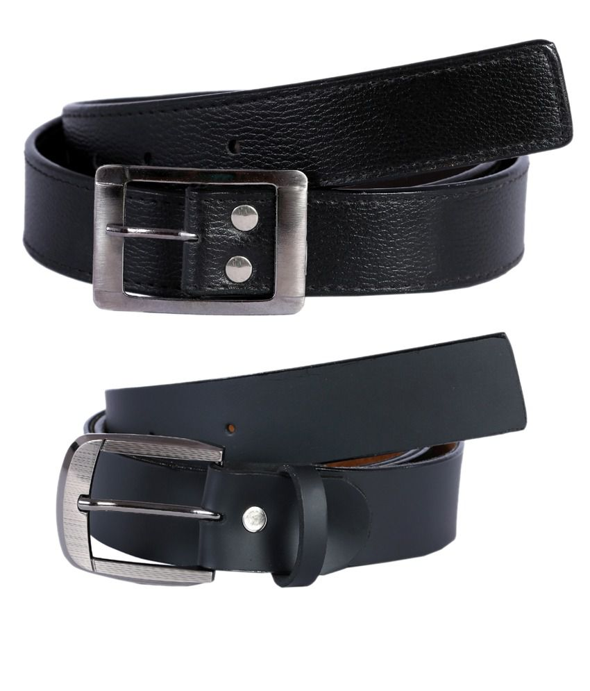 Hardys Collection Black Leather Formal Belt For Men - Pack Of 2