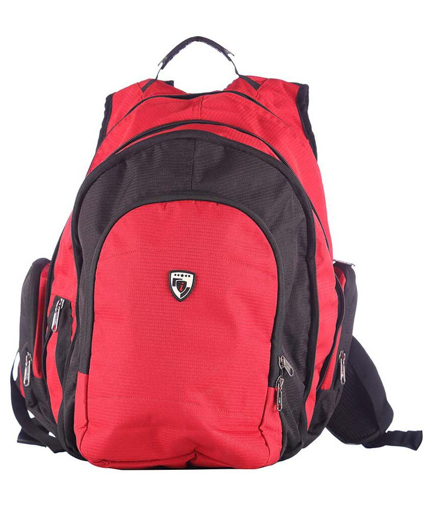 I Red And Black Polyester Backpack