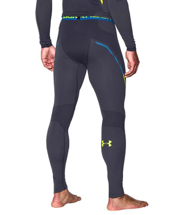 Under Armour Under Armour Men's Seamless Heatgear Compression Leggings, Stealth Gray/hivis Yellow