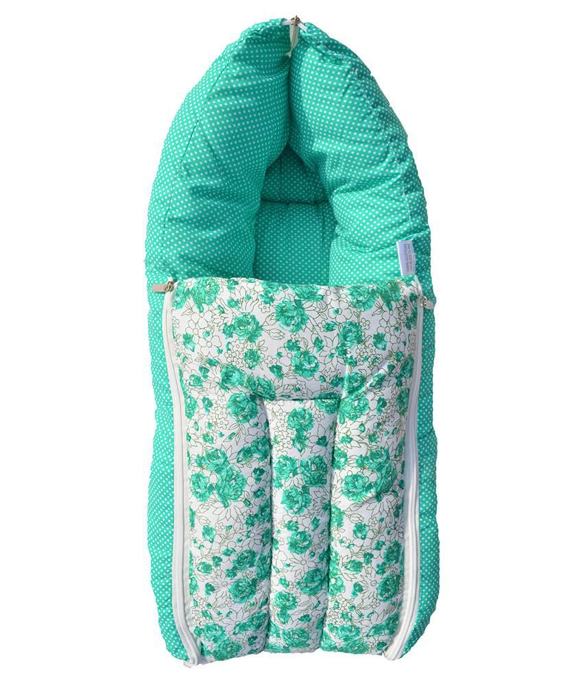 Younique Green Cotton Baby Bed Carrier/sleeping Bag