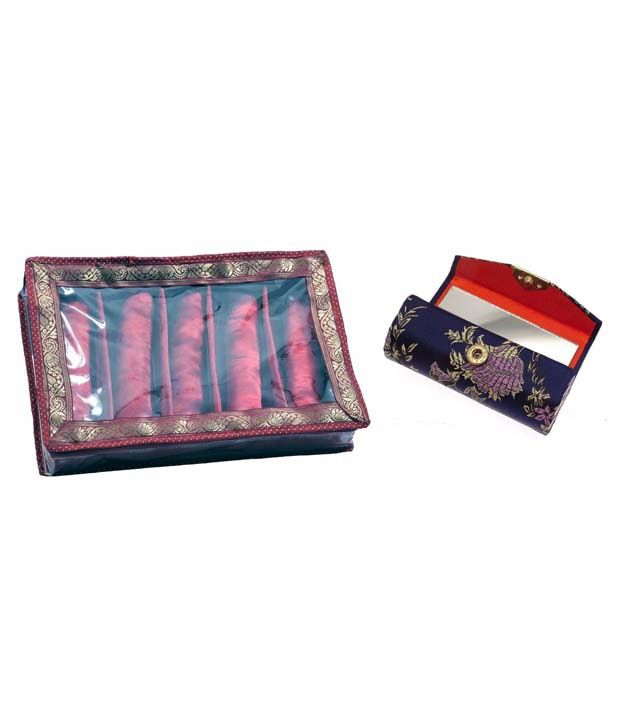 Adinan Handmade Satin Made Bangle Box Of 5 Row with Lipstick Case Holder Box (1 Piece)