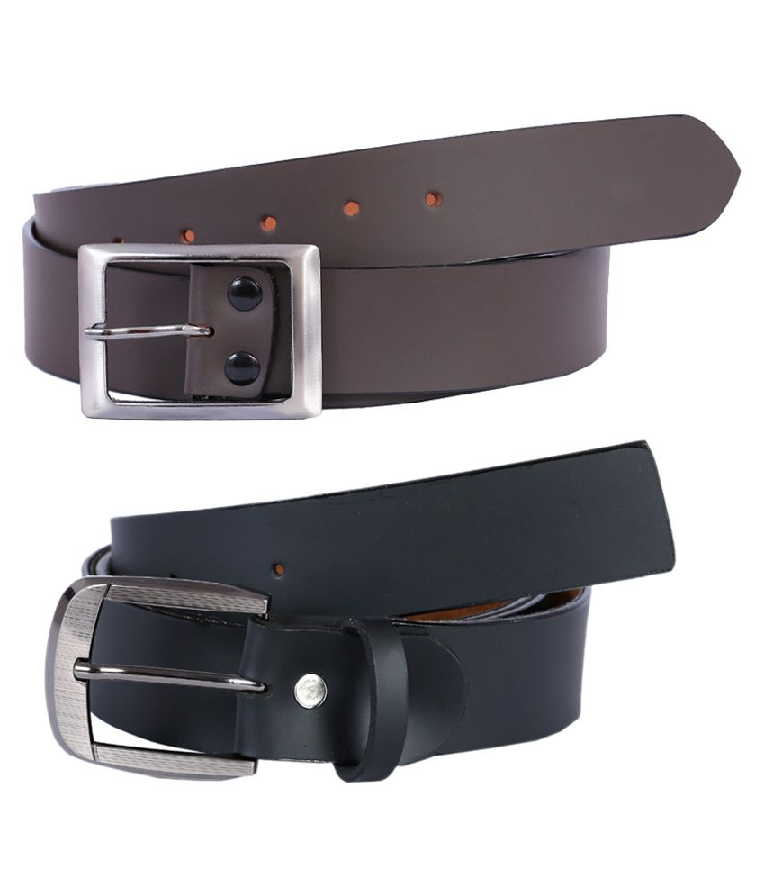 Kritika World Black And Brown Formal Belt For Men - Pack Of 2