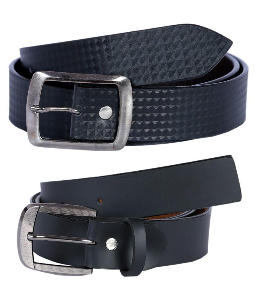 Kritika World Black Formal Belt For Men - Pack Of 2