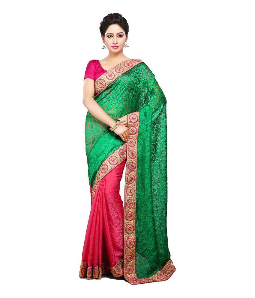 Senhora Green Chiffon Saree
