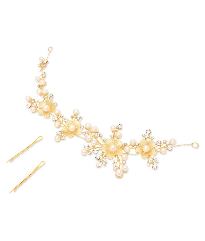 Dazzle Collections Golden Designer Hair Clip