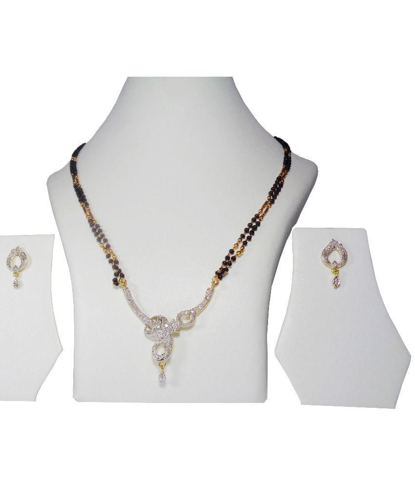 Jewellery Expert American Diamond Mangalsutra with Double Chain