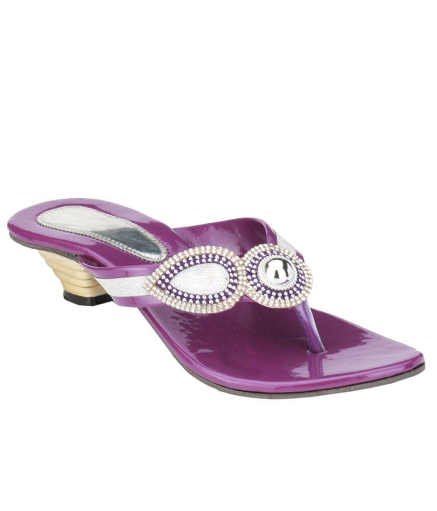 Nickolas Purple And Silver Heeled Slip Ons