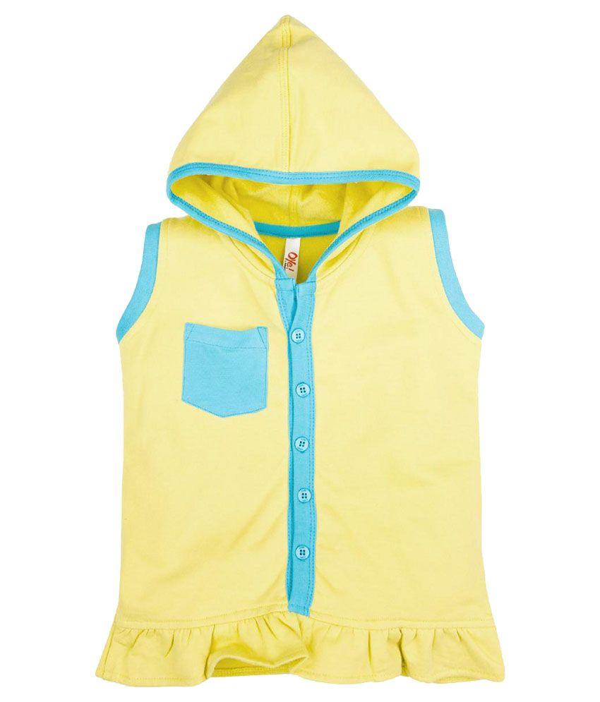 Oye Yellow Hooded Cotton Sweatshirt