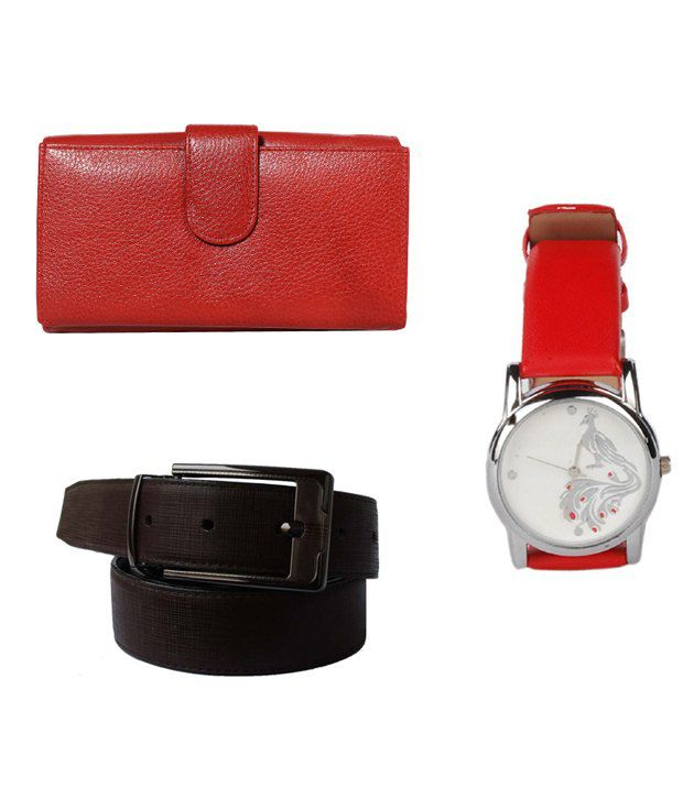 Klaska Combo of Women's Leather Wallet, Wrist Watch & Men's Leather Belt