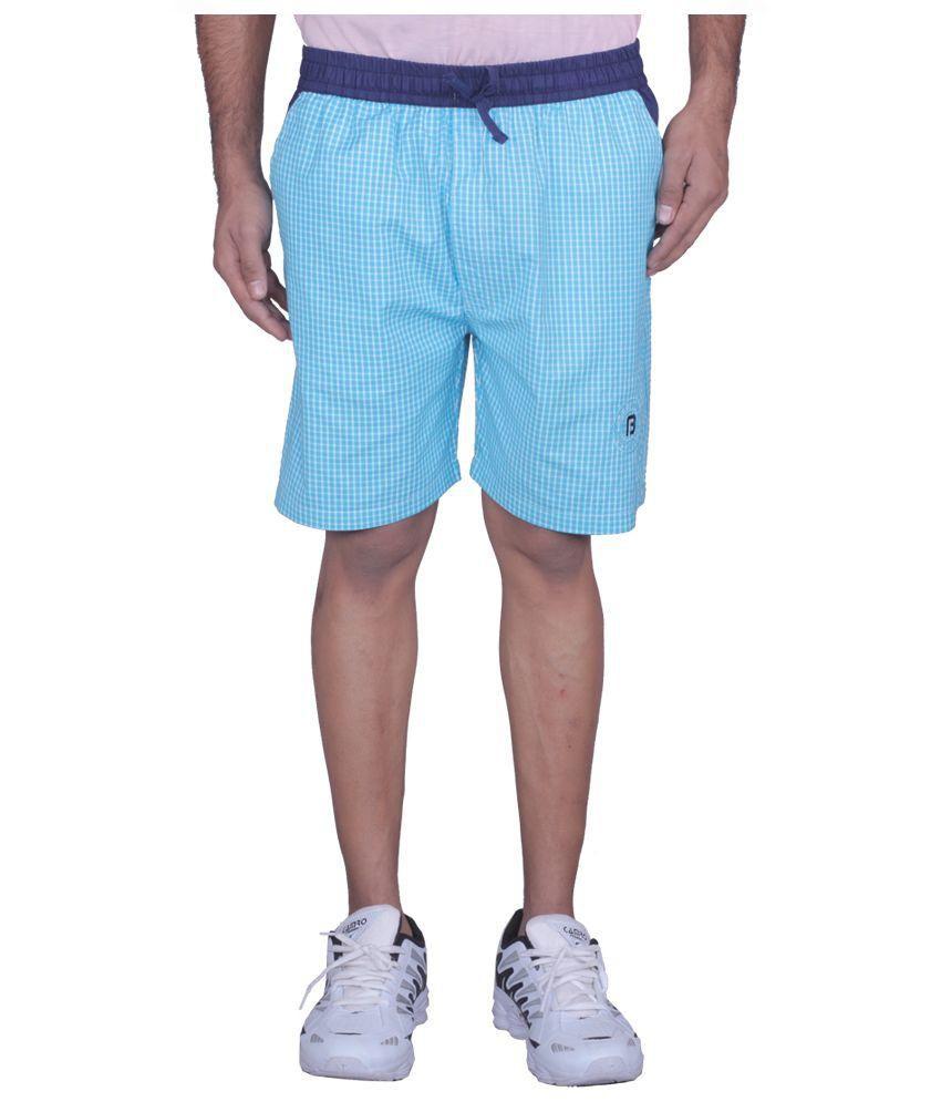 Black Casual Turquoise Cotton Checks Shorts