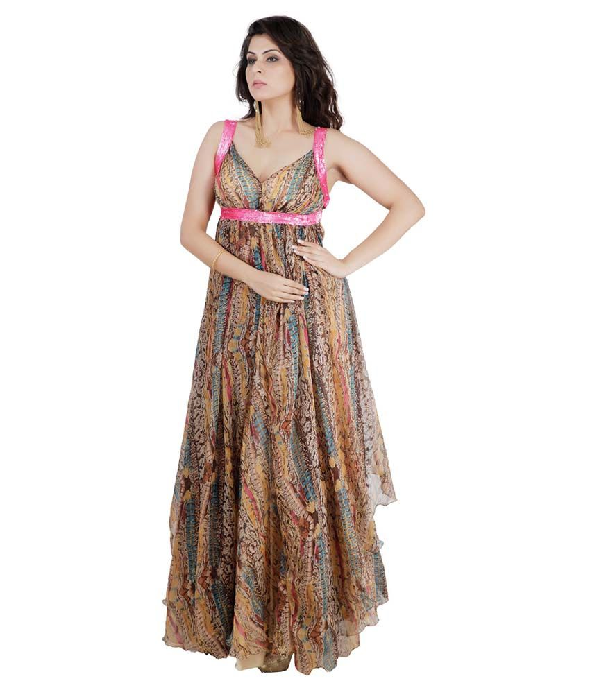 Pret A Porter Multi Color Chiffon Gowns - Buy Pret A Porter Multi ...