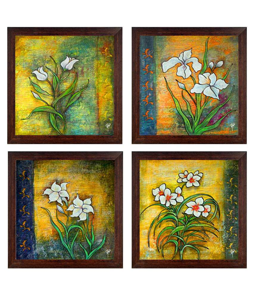Ray Decor Multicolour Floral Painting - Set Of 4