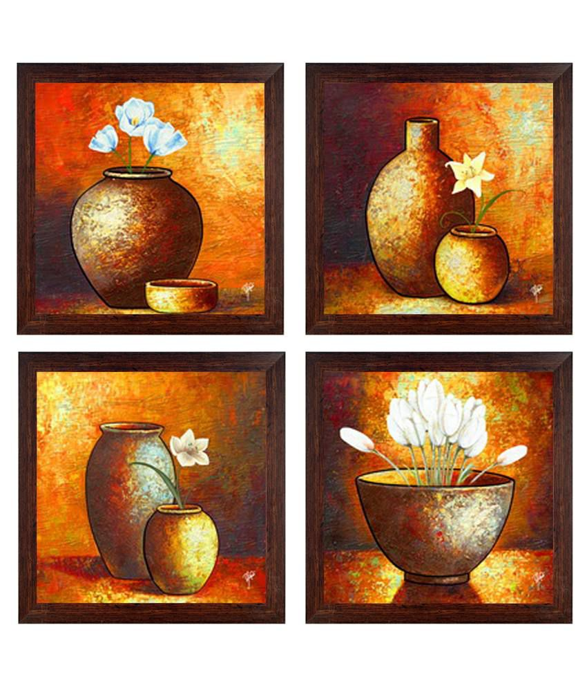 Ray Decor Multicolour Still Life Painting - Set Of 4