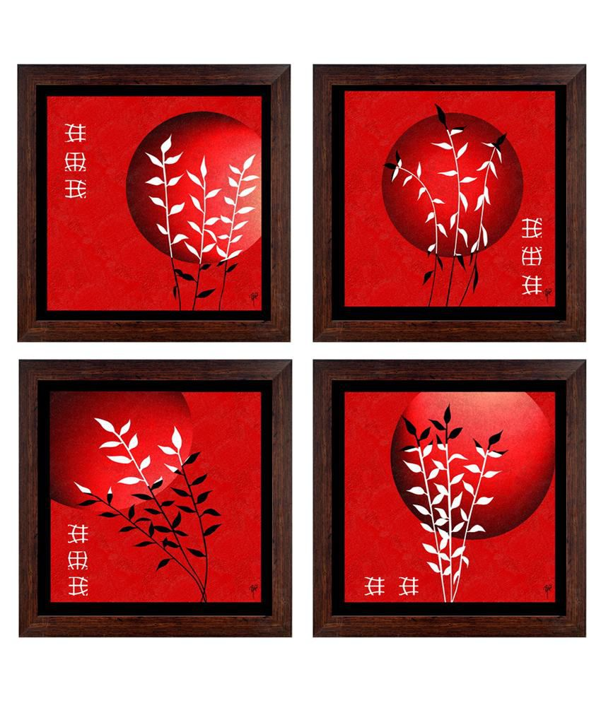 Ray Decor Red Abstract Painting - Set Of 4