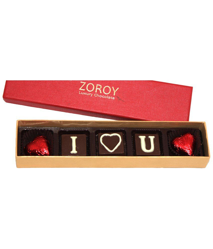 Zoroy Red & Golden Magical Box of 5 I Love You Milk Chocolates