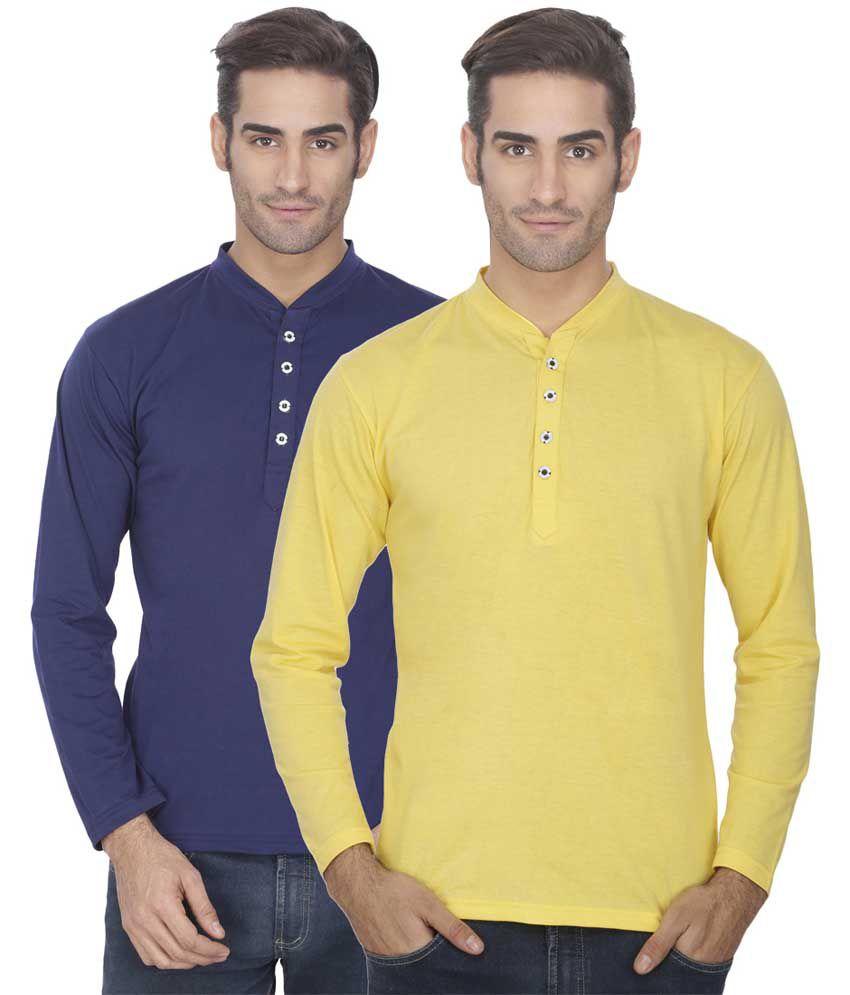 Esoul Solid Men's Navy & Yellow Henley Tshirt