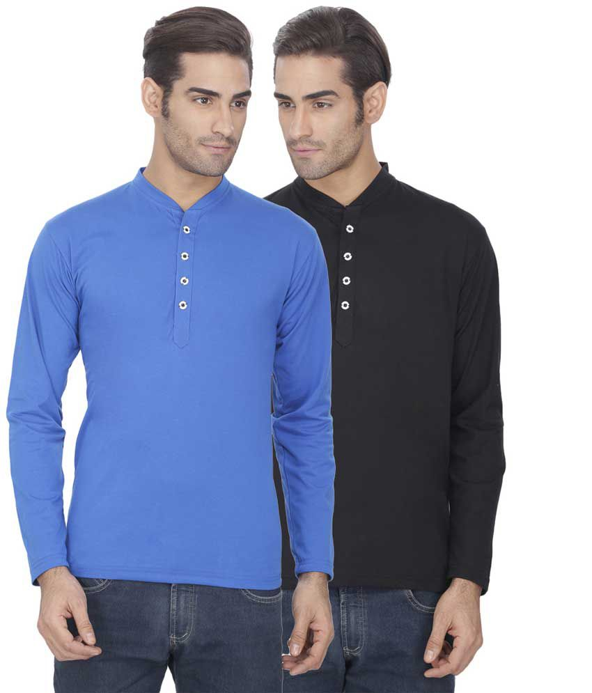 Esoul Solid Men's Turquoise & Black Henley Tshirt