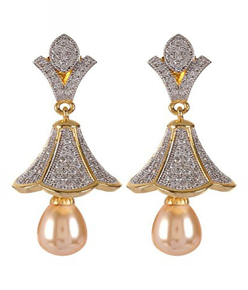 Violet & Purple Gold & Silver Alloy Jhumkis