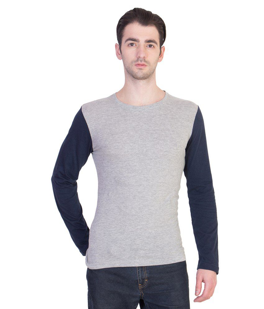14 Forty Grey & Blue Cotton T Shirt