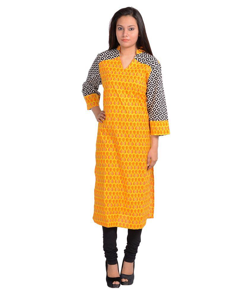 Binaula Yellow Straight Cotton Kurti