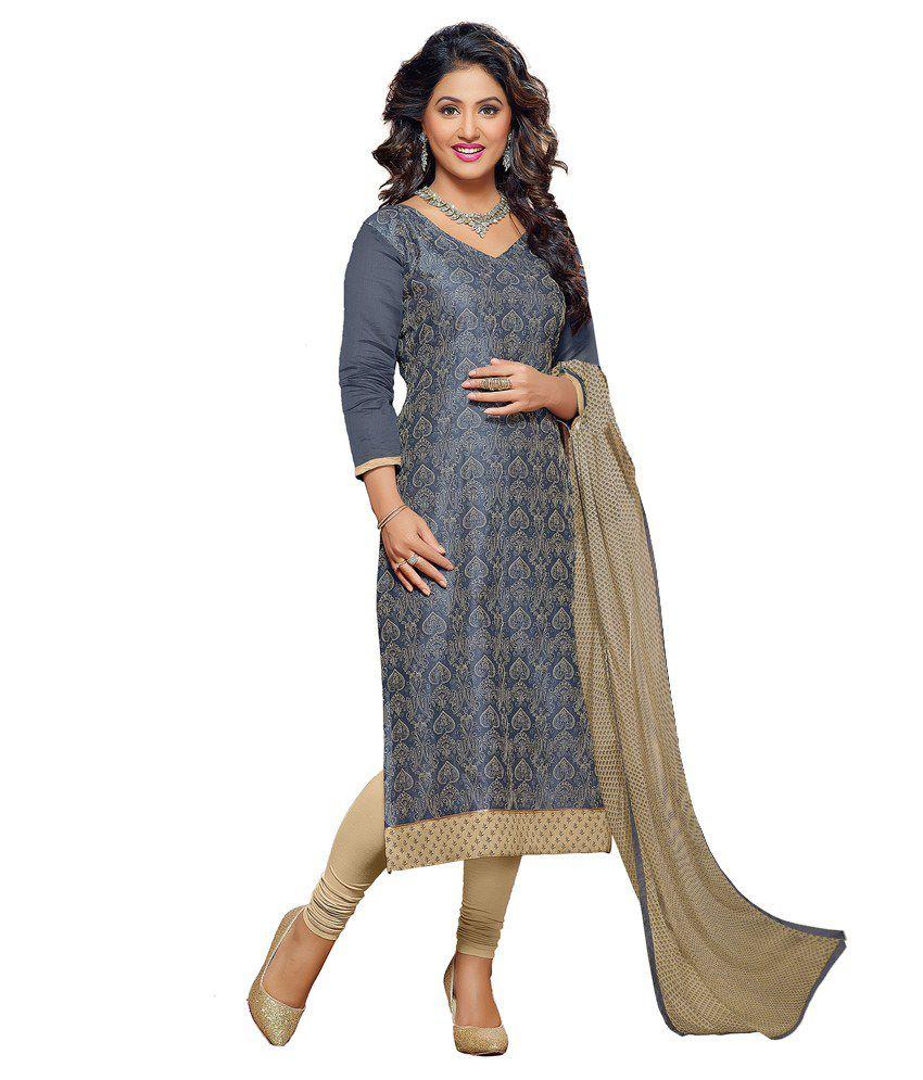 Jiya Grey Chanderi Straight Unstitched Dress Material