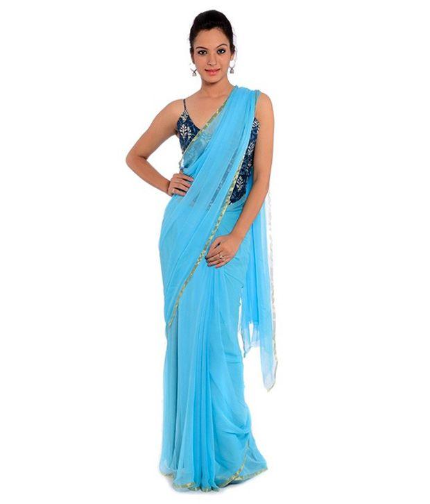 680014f97b Kaynaat Blue Georgette Saree Price in India | Buy Kaynaat Blue ...