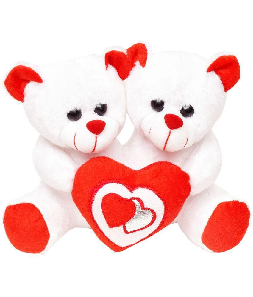 Tabby Toys Tabby Toys White & Red Couple Teddy Soft Toy