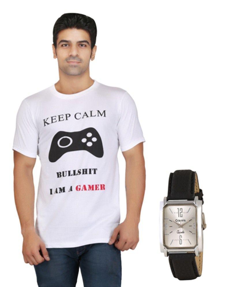 Crazeis White Cotton T Shirt With Wrist Watch