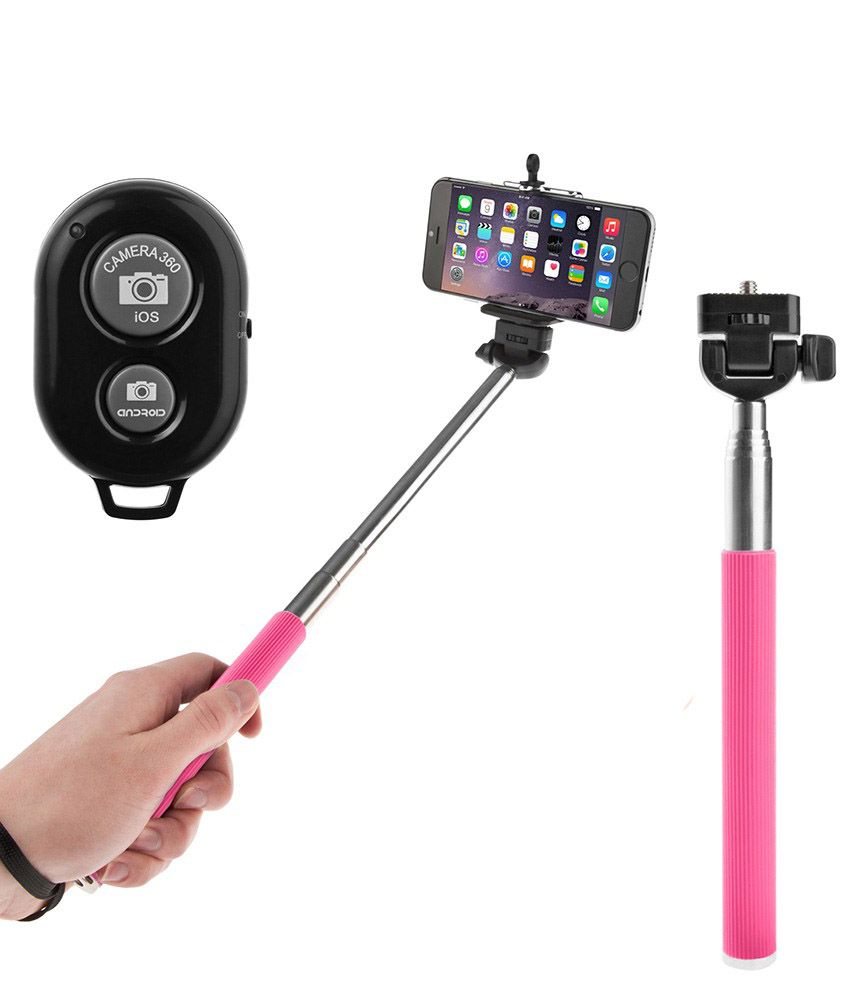 konarrk selfie stick with bluetooth wireless remote for all smartphones pink. Black Bedroom Furniture Sets. Home Design Ideas