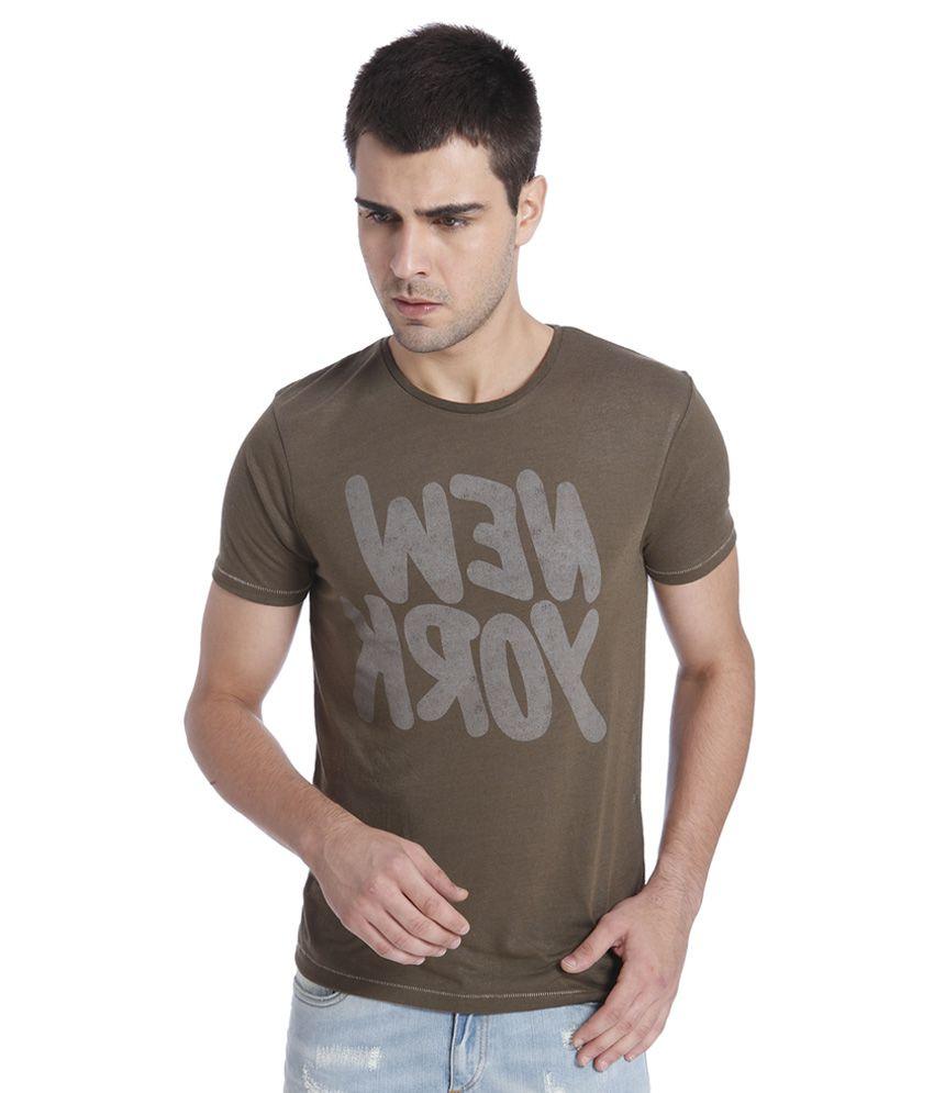 Jack & Jones Brown Printed T-Shirt