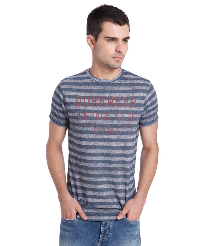 Jack & Jones Grey Striped T-Shirt