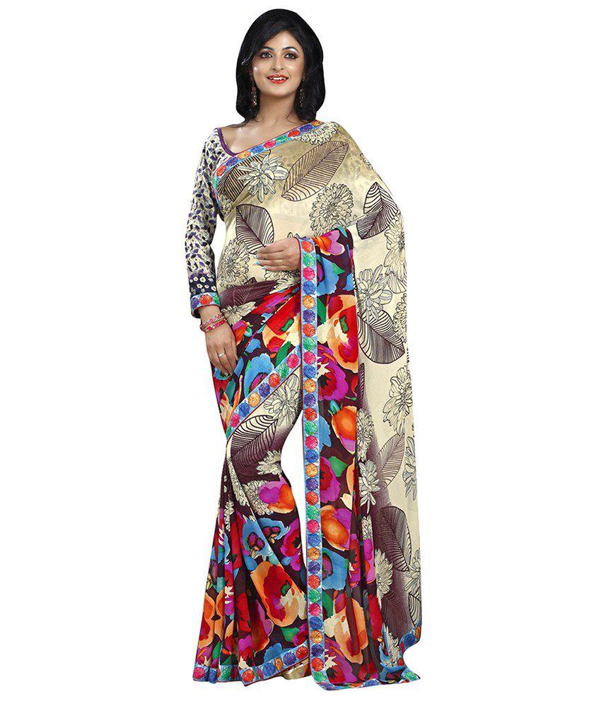 Lookslady Multicoloured Georgette Saree