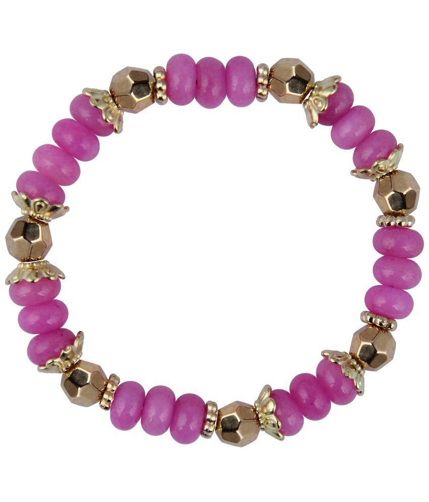 Pearlz Ocean Roundel Shape Pink Quartz Stretchable Beads Bracelet