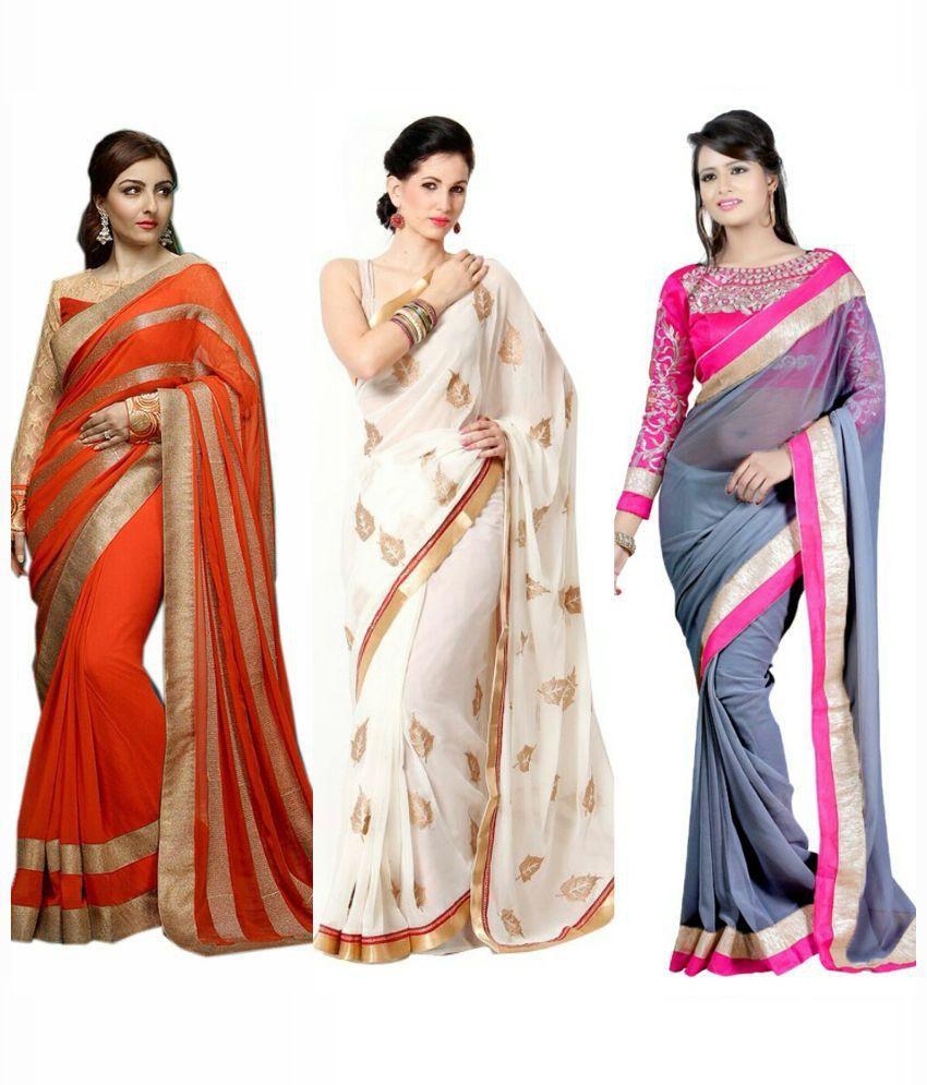 Fashion Designer Sarees Multicolour Georgette Pack Of 3